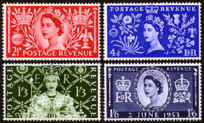 1953 GB - Coronation of Queen Elizabeth II Set (4) Marginal MNH