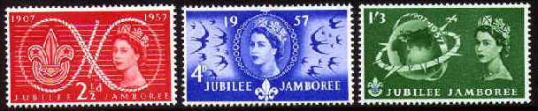 1957 GB - World Scout Jubilee Jamboree Set (3) MNH
