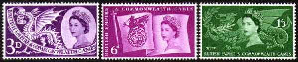 1958 GB - Sixth British Empire & Commonwealth Games Set (3) MNH