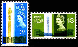 1965 GB - Opening of PO Tower Set (2) MNH (Phosphor - LB)
