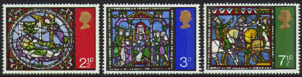 1971 GB - Christmas: Windows in Canterbury Cathedral Set (3) MNH