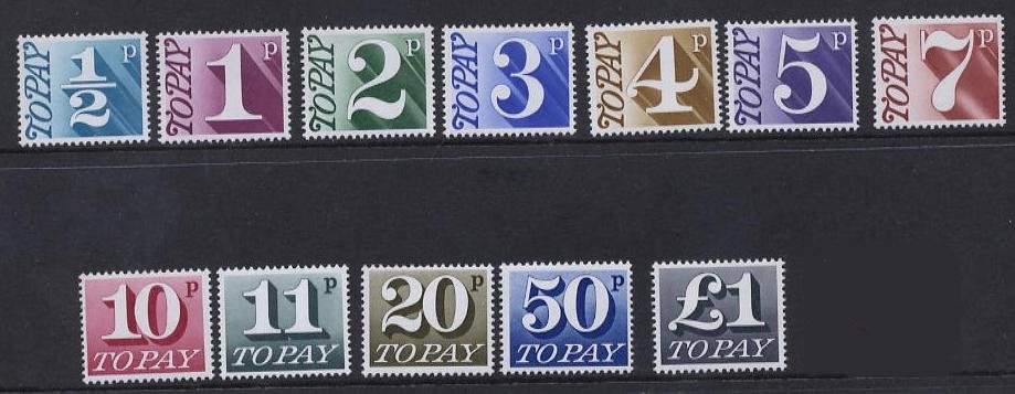 1970-75 GB - QEII - D77-D89 To Pay Set Low Values (12) FU