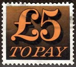 1973 GB - QEII - D89 £5 Orange and Black 'To Pay' Label VFU