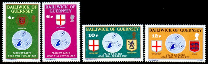 1975 Christmas: Globe and Seals of the Bailiwick Set (4) MNH