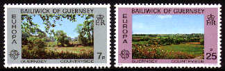 1977 Europa. Guernsey Landscapes Set (2) Used