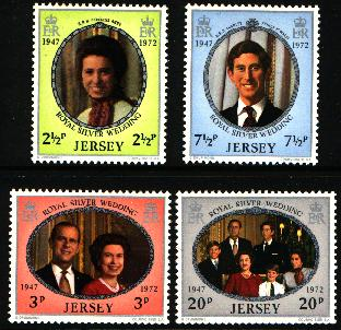 1972 Jersey Royal Silver Wedding Set (4) MNH