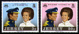1973 Jersey Royal Wedding Princess Anne Set (2) MNH