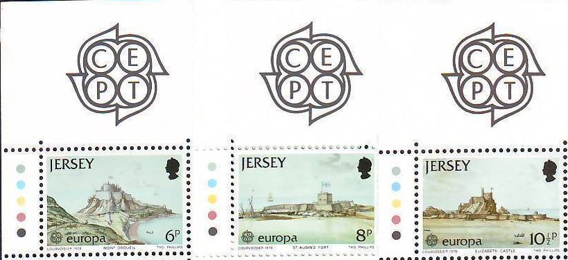 1978 Jersey Europa - Fortifications Set (3) Top CEPT Mrgnl MNH