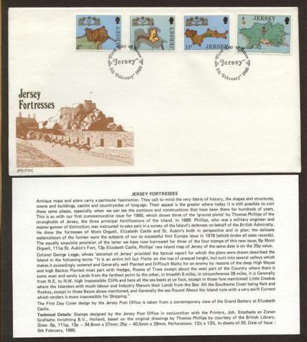 1980 Jersey Fortresses Set FDC