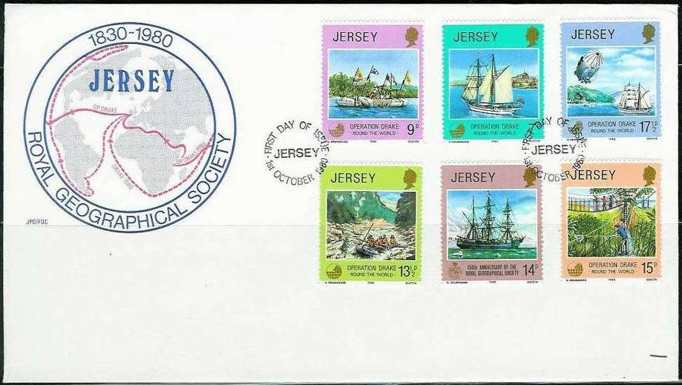 1980 Jersey Operation Drake & Geographic Anniv FDC