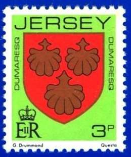 1981-88 Jersey Family Arms Definitive 3p P.15 x 14 MNH