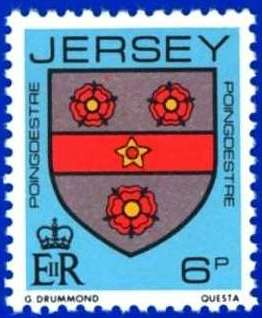1981-88 Jersey Family Arms Definitive 6p P.15 x 14 MNH