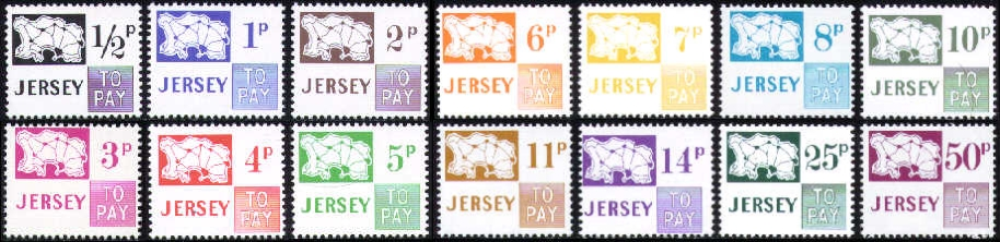 1971 JD7-20 Jersey Maps Decimal Set (14) MNH
