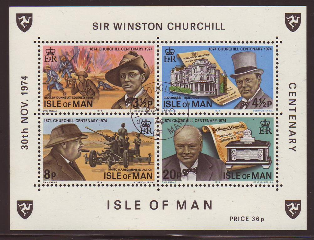 1974 IOM - Birth Centenary of Winston Churchill M/S Used CTO