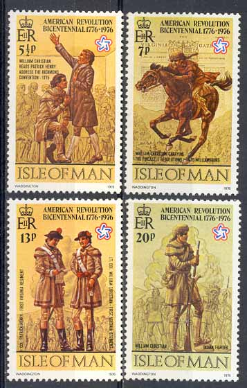 1976 IOM - Bicentenary of American Revolution Set (4) Used
