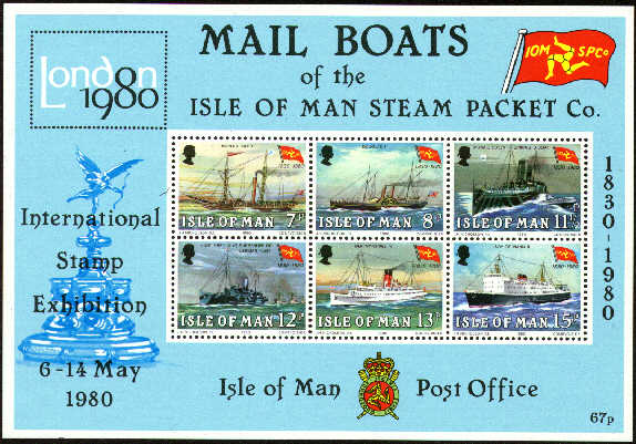 1980 IOM - 150th Anniv of Steam Packet Co M/S MNH