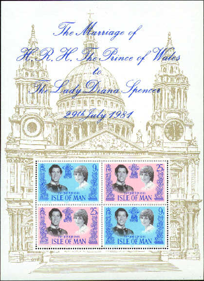 1981 IOM - Royal Wedding: Prince Charles and Lady Di M/S MNH