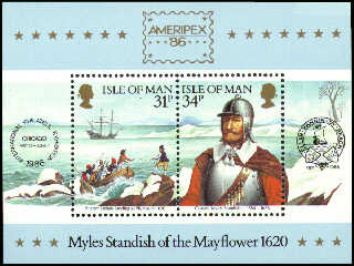 1986 IOM - Myles Standish of the Mayflower - Ameripex M/S MNH