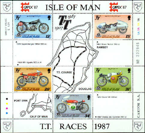1987 IOM - 80th Anniv of T.T. Motorcycle Races M/S Used CTO