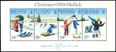 1990 IOM - Christmas: Children in the Snow M/S (4) MNH