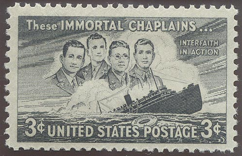 1948 US - Sc956 3¢ Immortal Chaplains Right Marginal MM