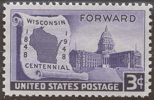 1948 US - Sc957 3¢ Wisconsin Statehood Left Marginal MNH