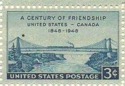 1948 US - Sc961 3¢ Canada Friendship Top Marginal MNH