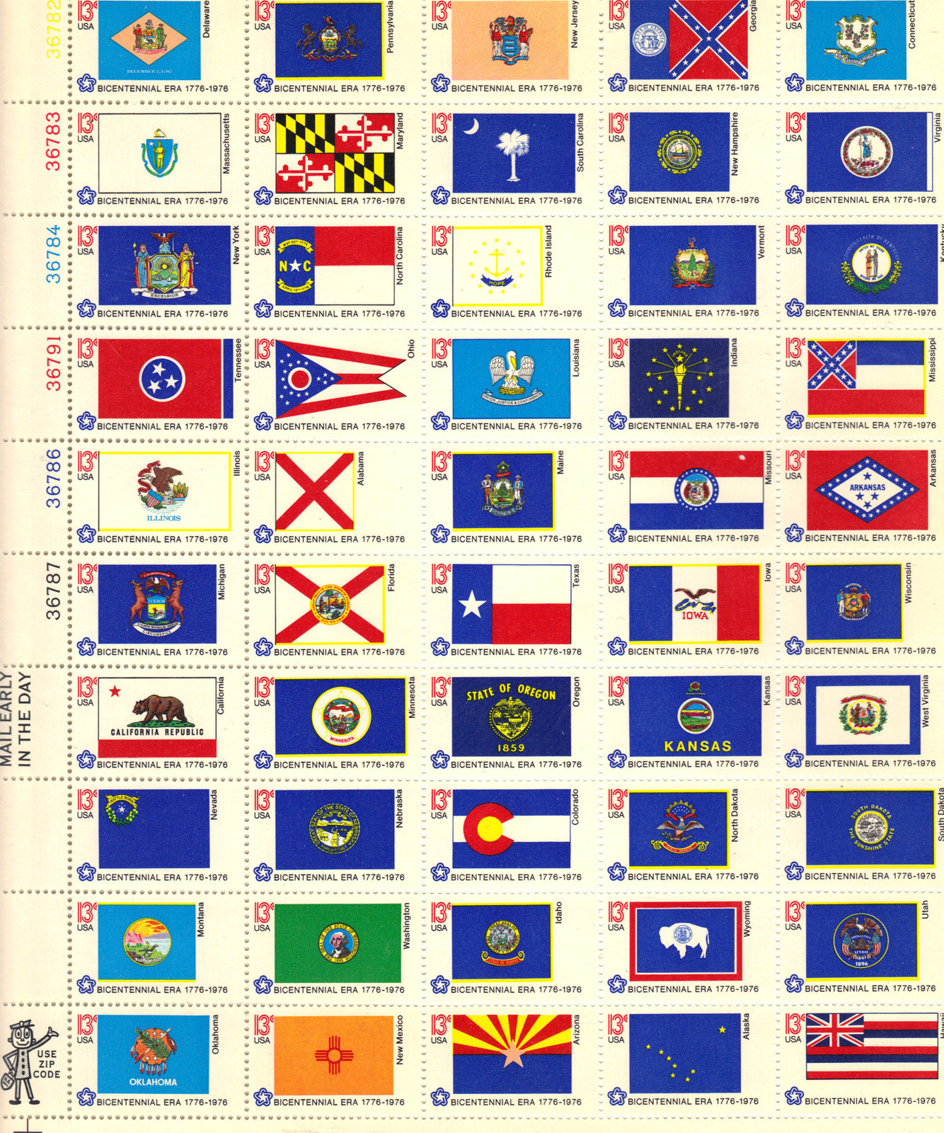 1976 US - Sc1682a State Flags Pane 50 different (Border) MNH