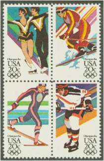 1984 US - Sc2070a 20¢ Winter Olympics Block (4) MNH