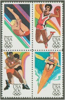 1984 US - Sc2085a 20¢ Summer Olympics Block (4) MNH