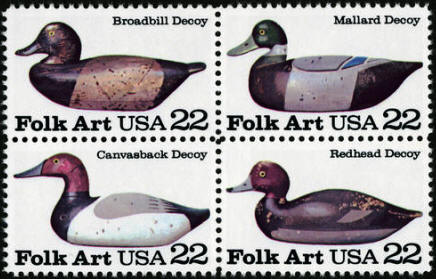 1985 US - Sc2141a 22¢ Folk Art Block (4) MNH