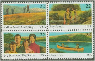 1985 US - Sc2163a 22¢ International Youth Year Block (4) MNH