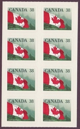 1989 CDN - SG1328sc 38¢ Flag Self Stick Definitive Pane (12) MNH