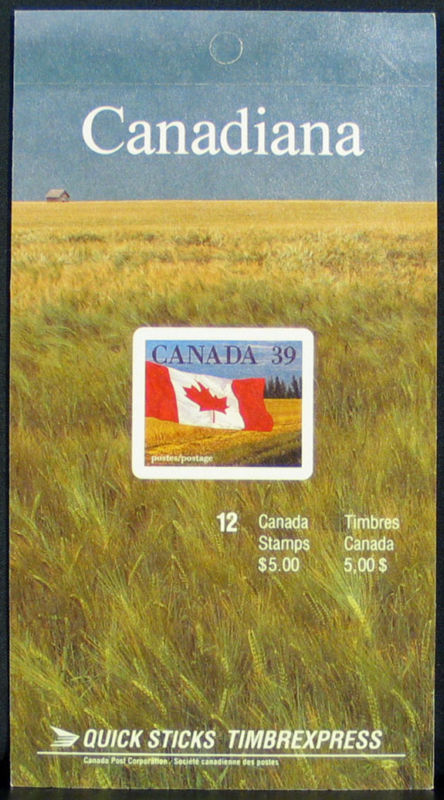 1990 CDN - BK114b (SB127) $5.00 39¢ Flag Definitive (Build Left)