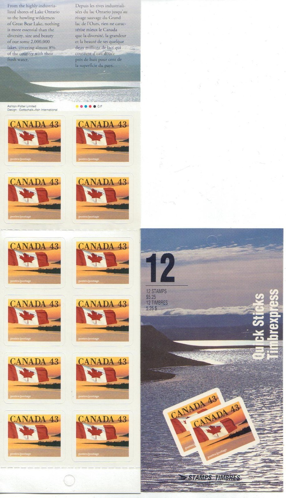 1993 CDN - BK158b (SB168) $5.25 43¢ Flag Definitive (Shore Left)