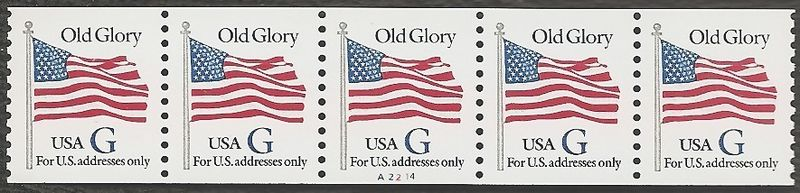 "1994 US - Sc2890 PNC5 Black ""G"" Flag #A2214 Perforated MNH"