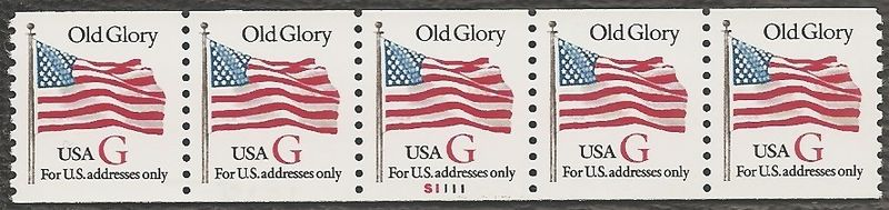 "1994 US - Sc2891 PNC5 Red ""G"" Flag #S1111 Perforated MNH"
