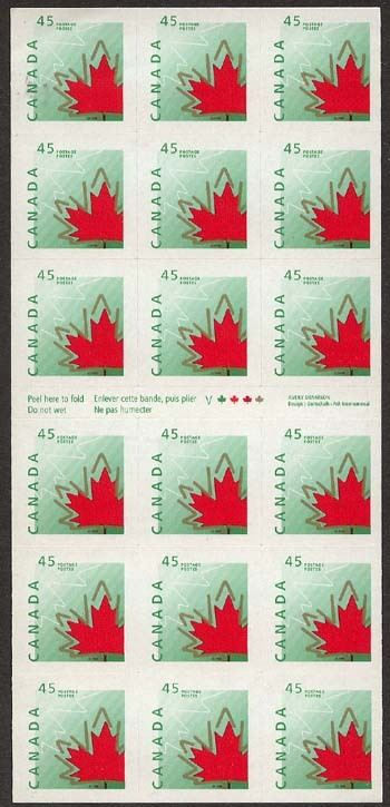 1998 CDN - SG1783 - 45¢ Maple Leaf ATM Sheetlet of 18 S1696a MNH