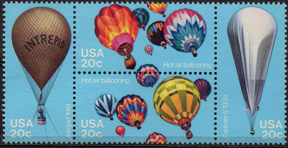 1983 US - Sc2035a 20¢ Intrepid Hot Air Ballooning Block (4) MNH