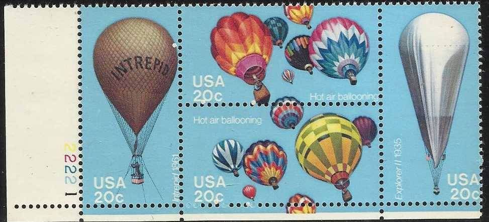 1983 US - Sc2035a 20¢ Hot Air Ballooning Plate Block (4) MNH