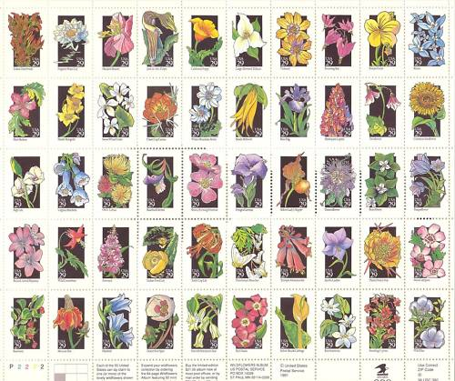 1987 US - Sc2647a 29¢ North American Wildflower [pane of 50] MNH