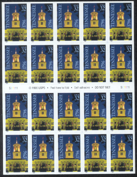 1996 US - Sc3071a 32¢ Tennessee Booklet Pane (20) MNH