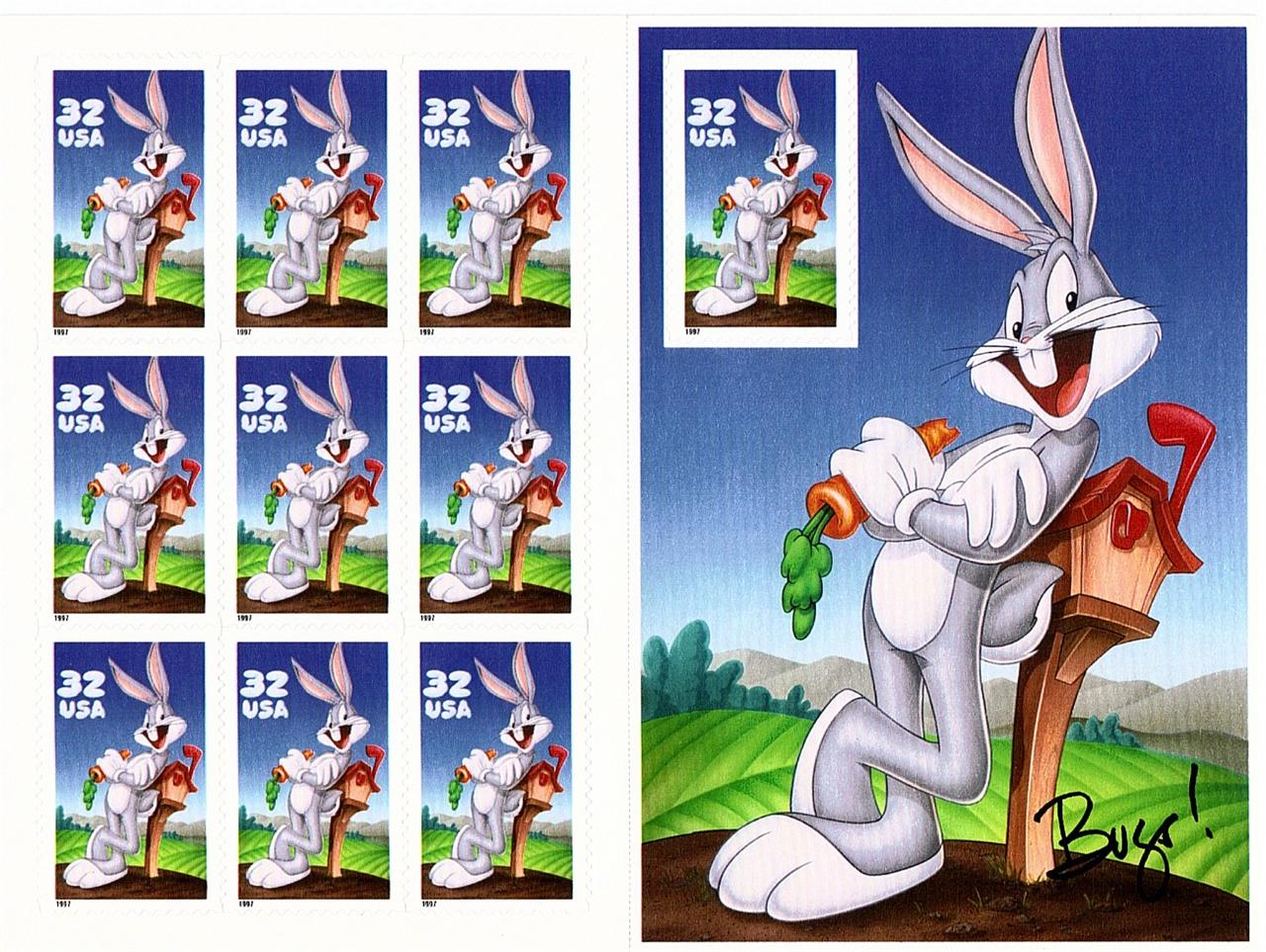 1997 US - Sc3137 32¢ Bugs Bunny Pane - Normal (10) MNH