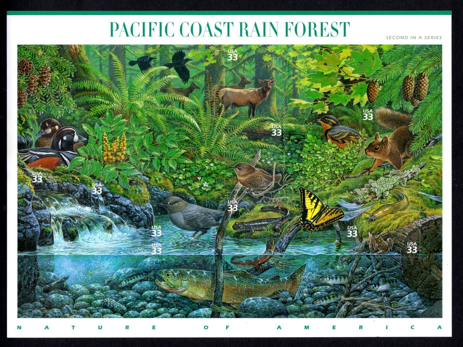 2000 US - Sc3378 33¢ Pacific Coast Rain Forest Sheet (10) MNH
