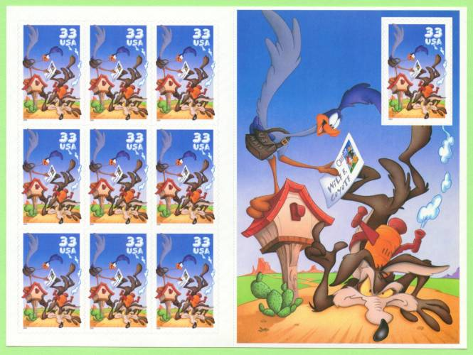 2000 US - Sc3391 33¢ Wile E. Coyote Pane - Normal (10) MNH