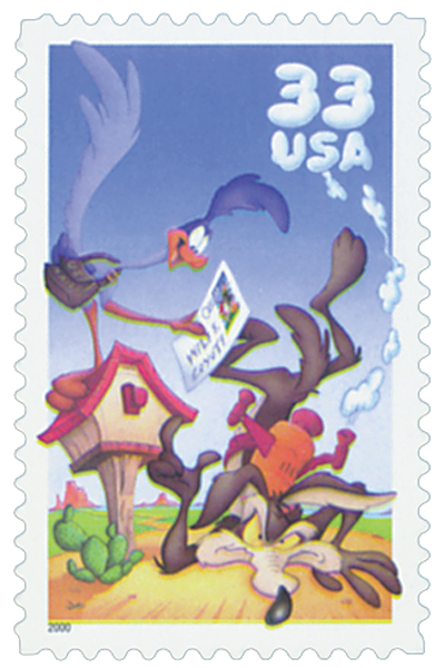 2000 US - Sc3391a 33¢ Wile E. Coyote Pane (Single) MNH