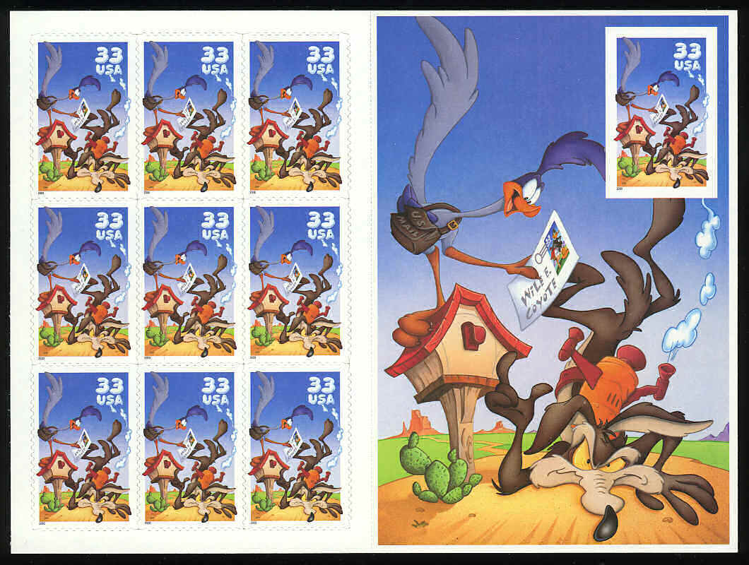 2000 US - Sc3392 33¢ Wile E. Coyote Pane - Imperforate (10) MNH