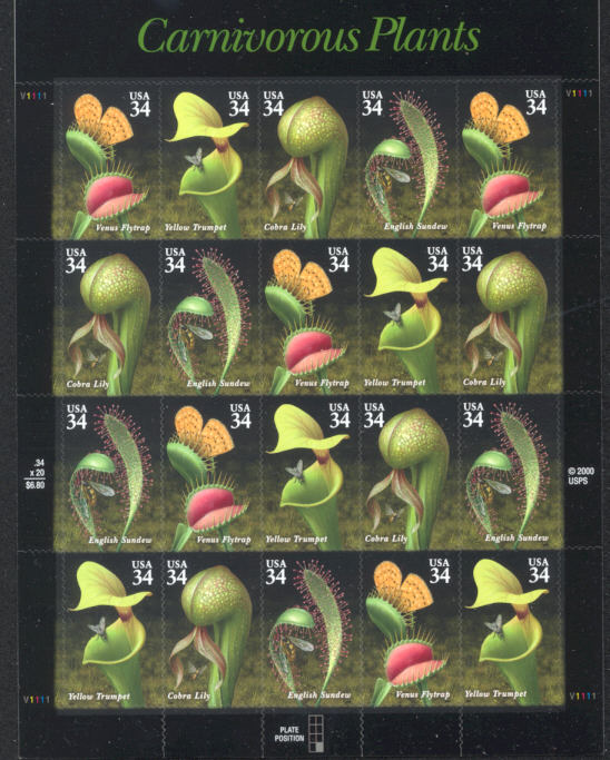 2001 US - Sc3531A 34¢ Canivorous Plants Sheet (20) MNH