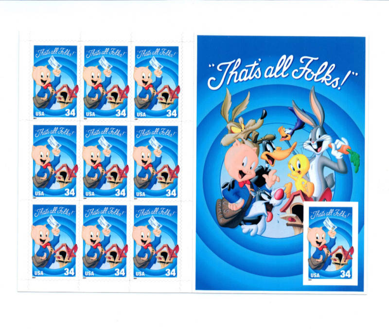 2001 US - Sc3535 34¢ Porky Pig Pane - Imperforate (10) MNH
