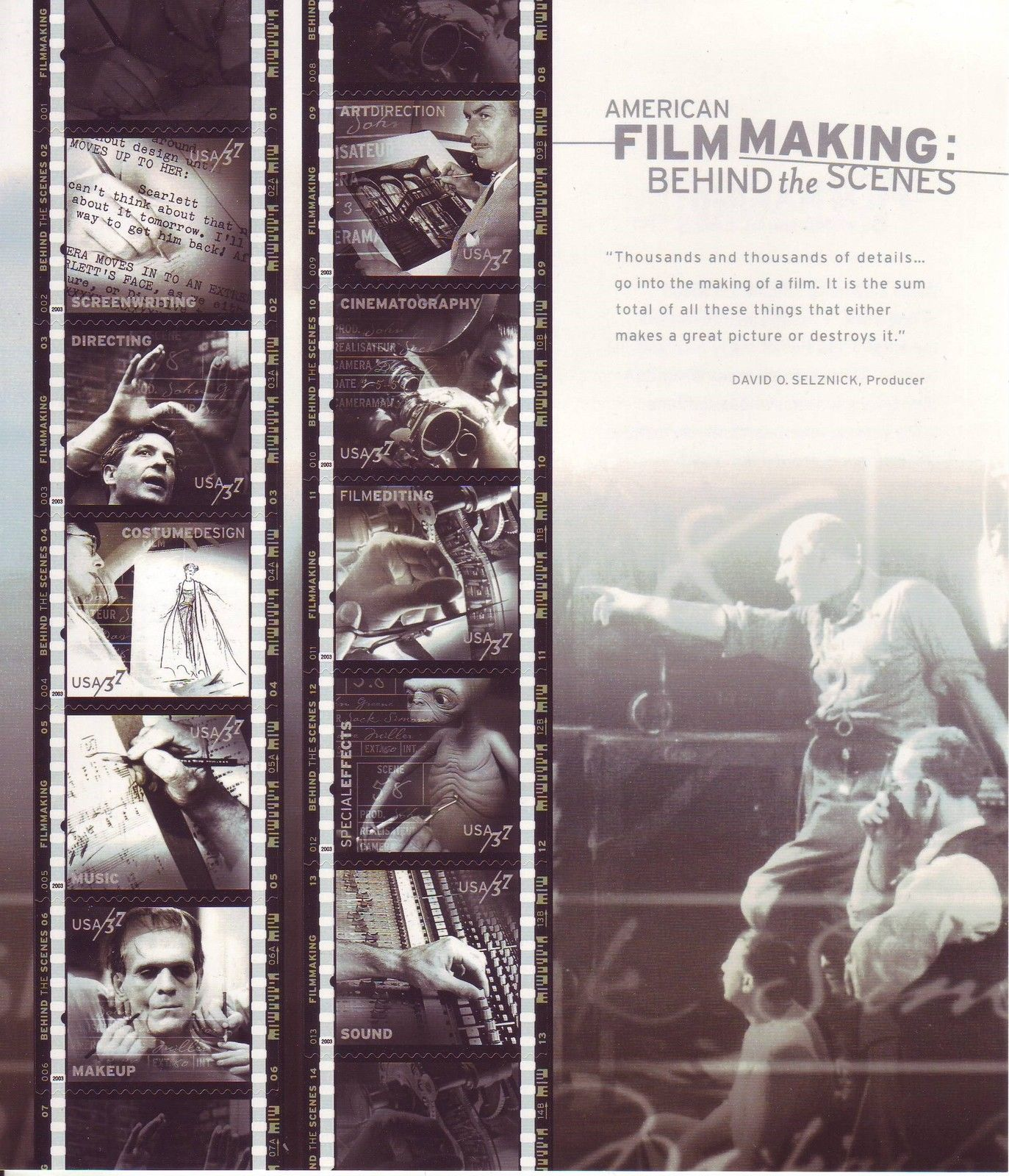 2003 US - Sc3772 37¢ Filmaking Behind the Scenes Sheet (10) MNH